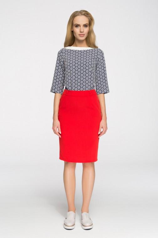 CM2657 Elegancka spódniczka biurowa - czerwona OUTLET