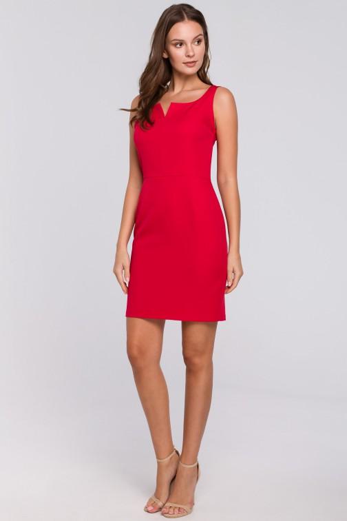 CM4961 Sukienka mini z dekoltem karo - czerwona