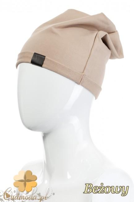 Lekka bawełniana czapka zimowa - beżowa