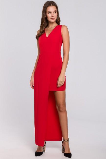Długa asymetryczna sukienka - czerwona