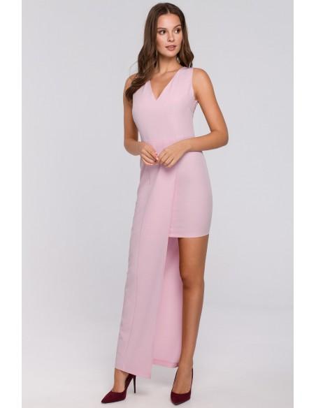 Długa asymetryczna sukienka - liliowa
