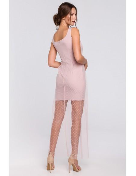 Długa sukienka z dołem w groszki - pudrowa