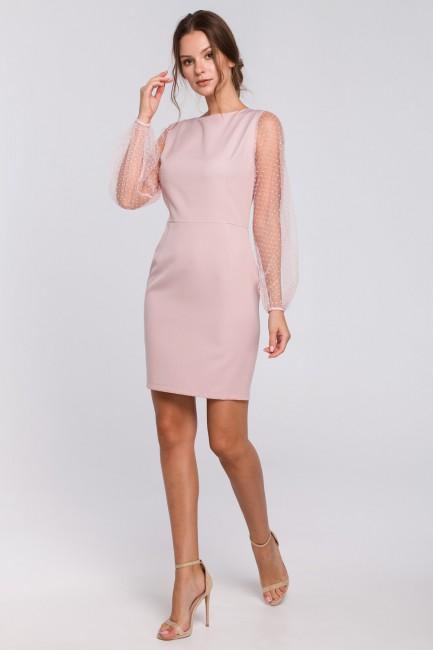 Sukienka z bufiastymi rękawami w groszki - pudrowa