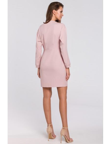 Kopertowa sukienka na jeden guzik - brudno-różowa