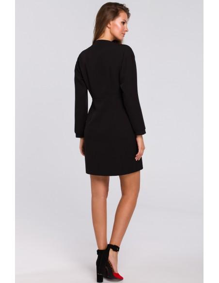 Kopertowa sukienka na jeden guzik - czarna