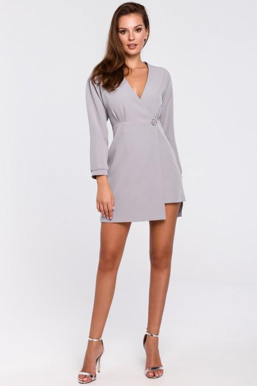 Kopertowa sukienka na jeden guzik - szara