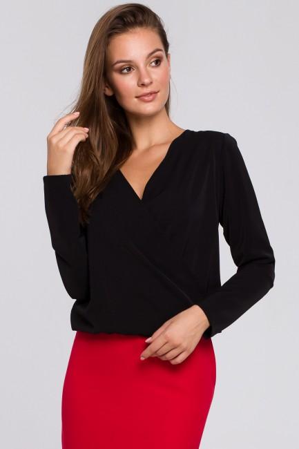Bluzka kopertowa z długim rękawem - czarna