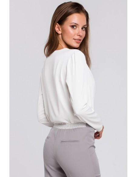 Bluzka kopertowa z długim rękawem - ecru
