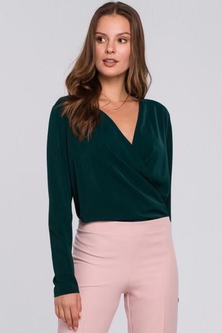 Bluzka kopertowa z długim rękawem - zielona
