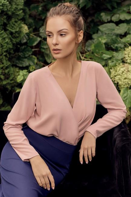 Bluzka kopertowa z długim rękawem - pudrowa