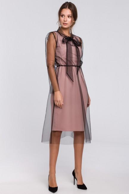 Sukienka tiulowa z wiązaniem przy szyi - pudrowa