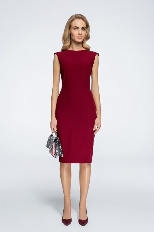 CM3060 Sukienka z przeszyciami przy rękawach - bordowa