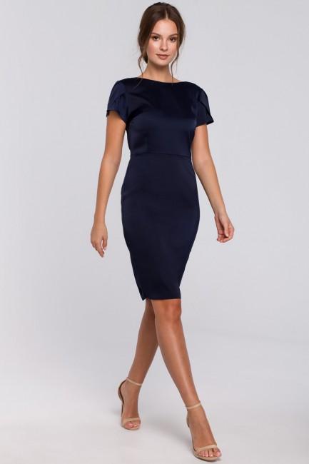 Sukienka z dekoltem typu woda z tyłu - granatowa