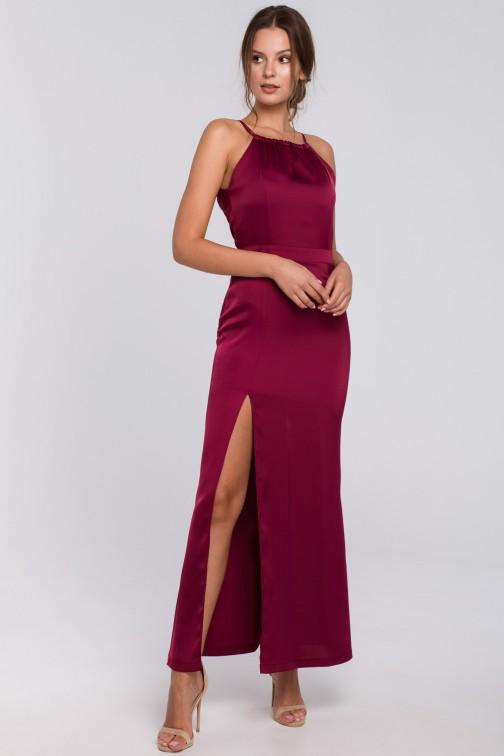 CM4981 Długa sukienka z rozcięciem na udzie - bordowa