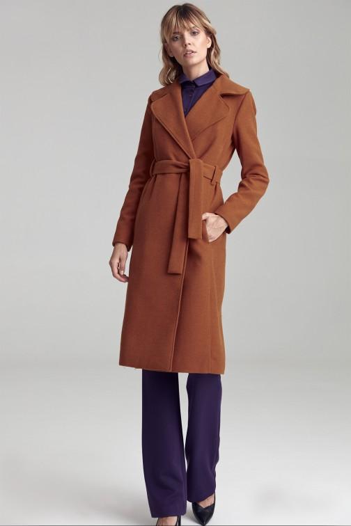 CM4810 Ciepły wiązany płaszcz - miodowy
