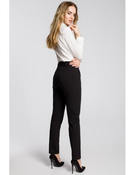 Spodnie chino z paskiem - czarne