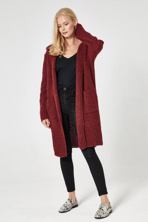 CM4743 Długi kardigan typu płaszcz - bordowy