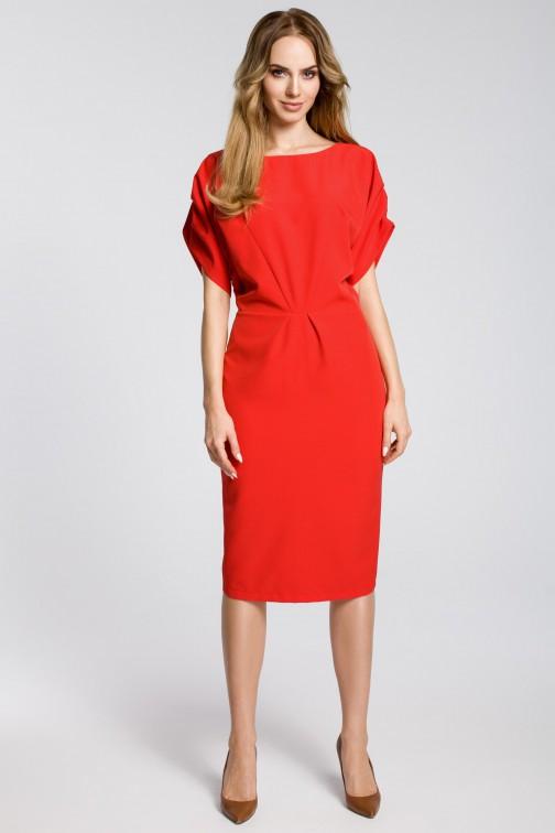CM3592 Ołówkowa sukienka midi z rękawami kimono - czerwona