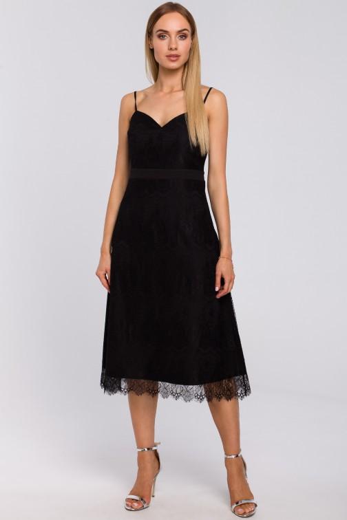 CM4993 Sukienka na ramiączkach z ręcznie ciętej koronki - czarna