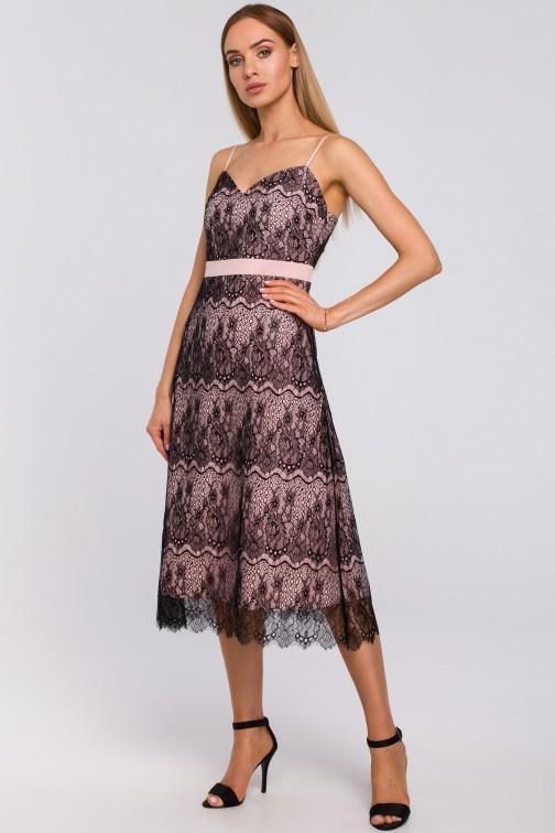 CM4993 Sukienka na ramiączkach z ręcznie ciętej koronki - pudrowa
