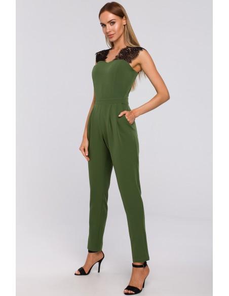 Kombinezon z koronką - zielony