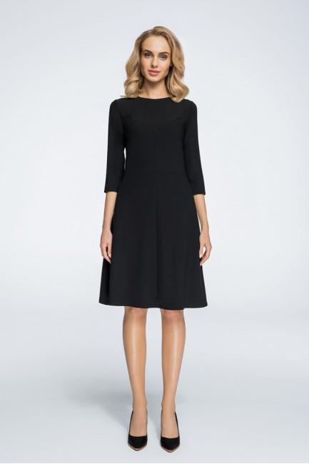 Nowoczesna sukienka z geometrycznymi przeszyciami - czarna