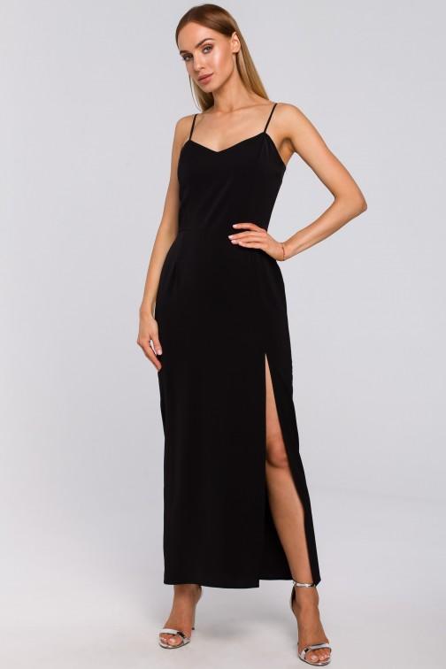 CM4995 Sukienka maxi na cienkich ramiączkach - czarna