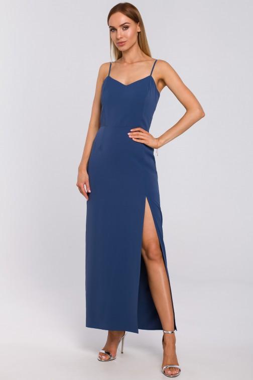 Sukienka maxi na cienkich ramiączkach - niebieska