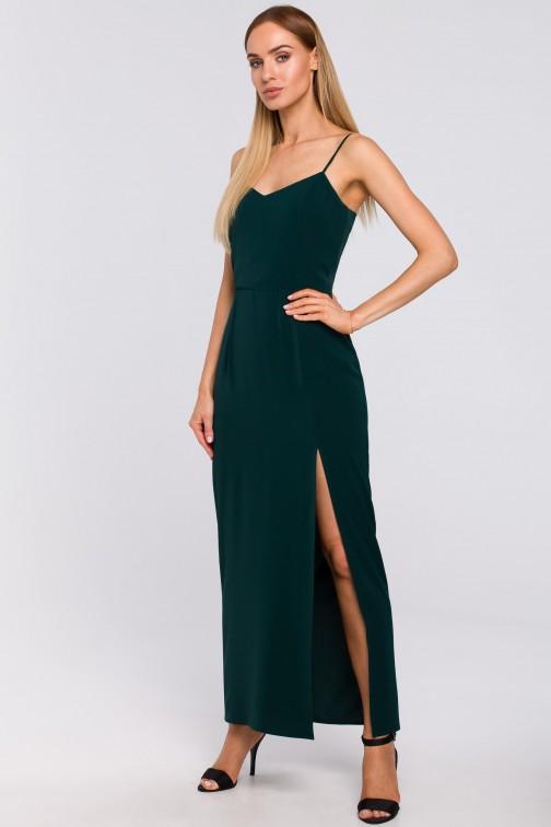 CM4995 Sukienka maxi na cienkich ramiączkach - zielona