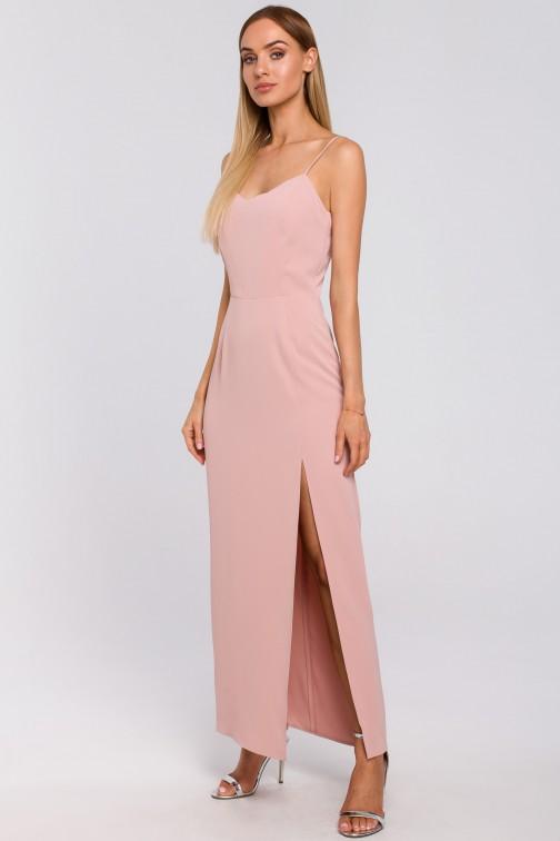 CM4995 Sukienka maxi na cienkich ramiączkach - pudrowa
