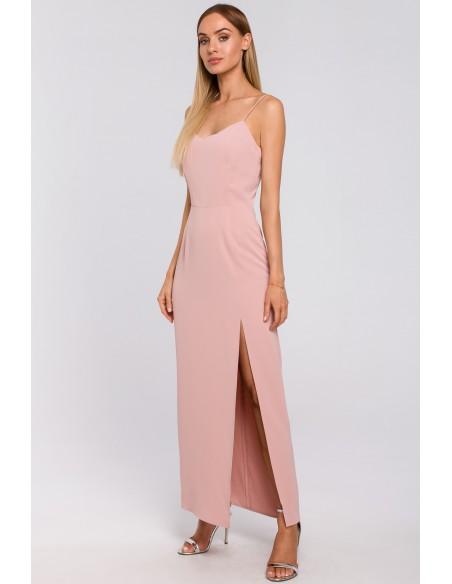 Sukienka maxi na cienkich ramiączkach - pudrowa