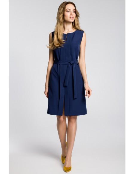 Sukienka z plisą i bez rękawów - granatowa