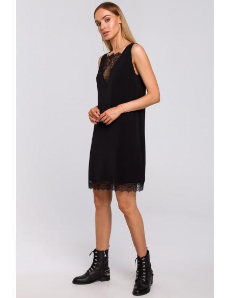 Sukienka z koronkową wstawką z przodu i z tyłu - czarna