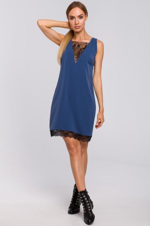 CM4998 Sukienka z koronkową wstawką z przodu i z tyłu - niebieska