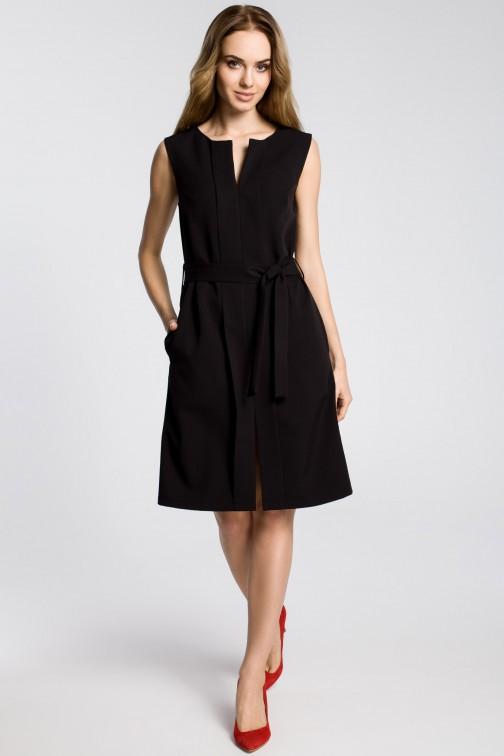 CM3593 Sukienka z plisą i bez rękawów - czarna