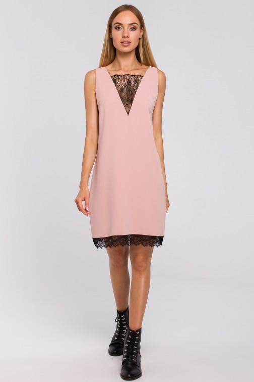 CM4998 Sukienka z koronkową wstawką z przodu i z tyłu - pudrowa