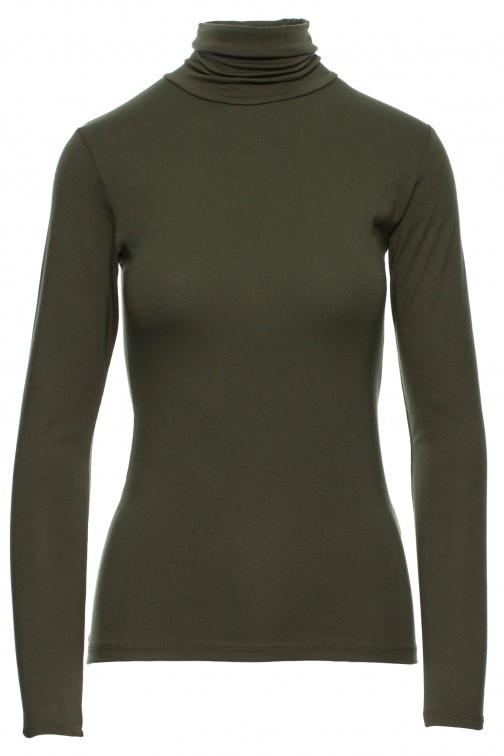 Gładki golf damski w modnych kolorach - khaki
