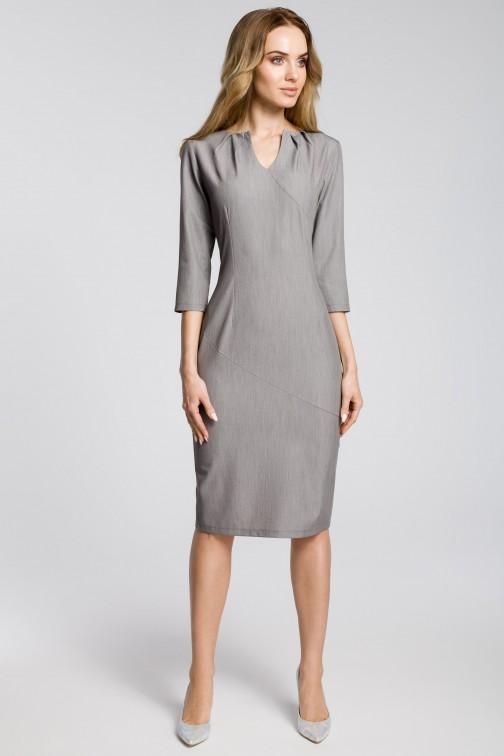 CM3594 Ołówkowa sukienka z przeszyciem rękaw 3/4 - szara