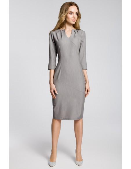 Ołówkowa sukienka z przeszyciem rękaw 3/4 - szara
