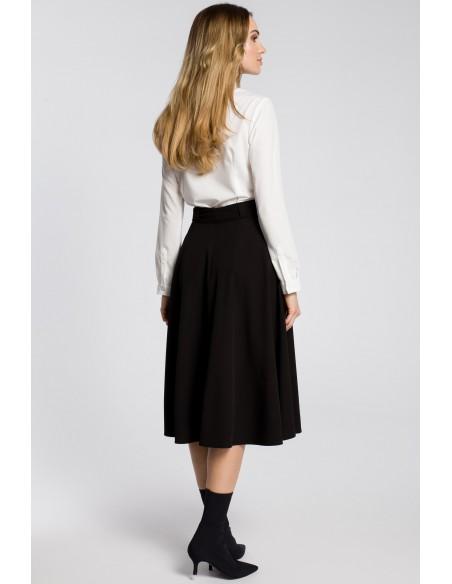 Rozkloszowana spódniczka midi z paskiem - czarna