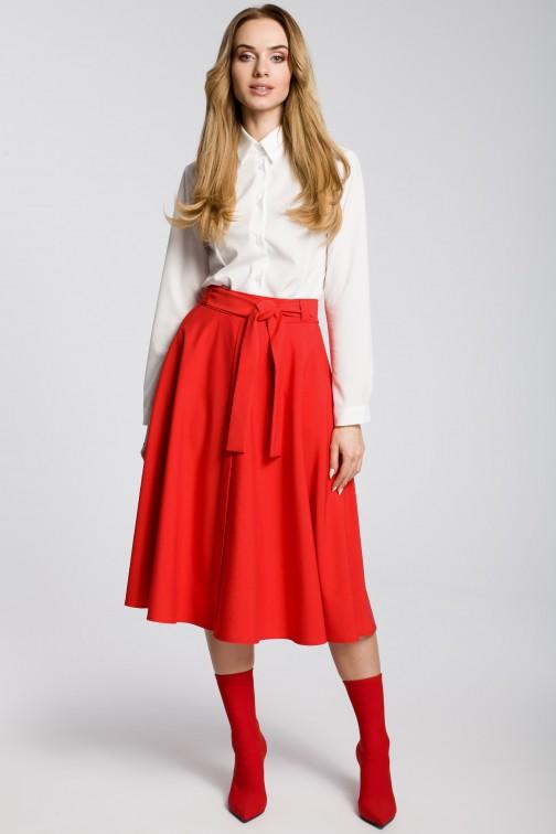 CM3595 Rozkloszowana spódniczka midi z paskiem - czerwona