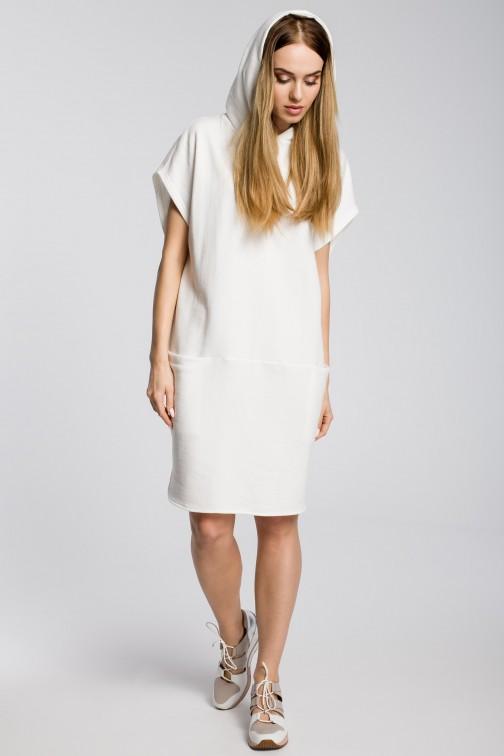 CM3596 Sukienka z kapturem i kieszeniami - ecru