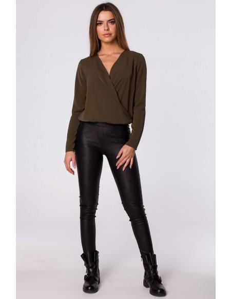 Bluzka kopertowa z długim rękawem - khaki OUTLET