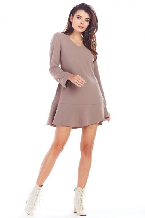 CM5006 Sukienka mini z długimi rękawami i złotymi guzikami - cappuccino
