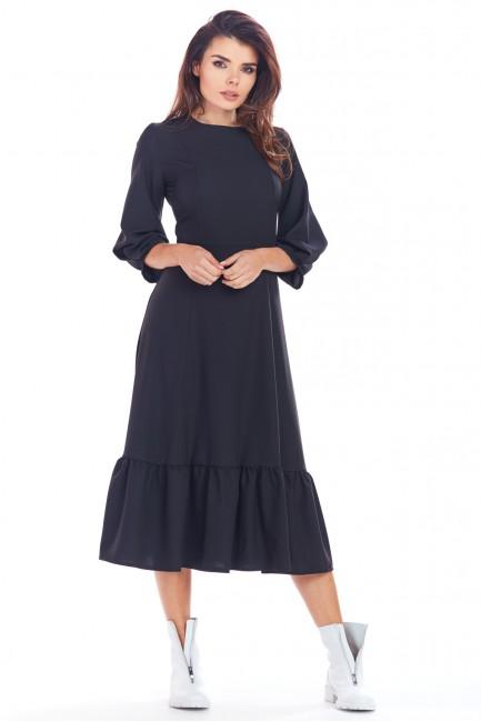 Zmysłowa sukienka midi z falbanką - czarna