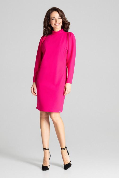 CM5016 Dopasowana sukienka midi z długim rękawem - fuksja