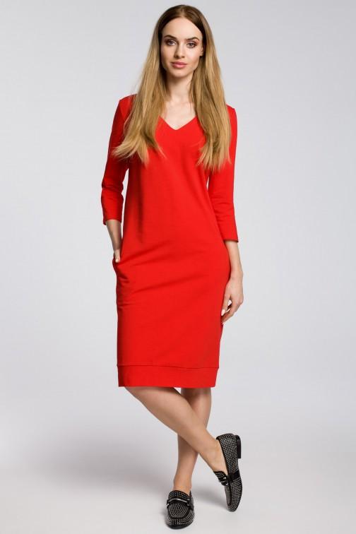 CM3599 Sukienka pudełkowa z dekoltem w serek - czerwona