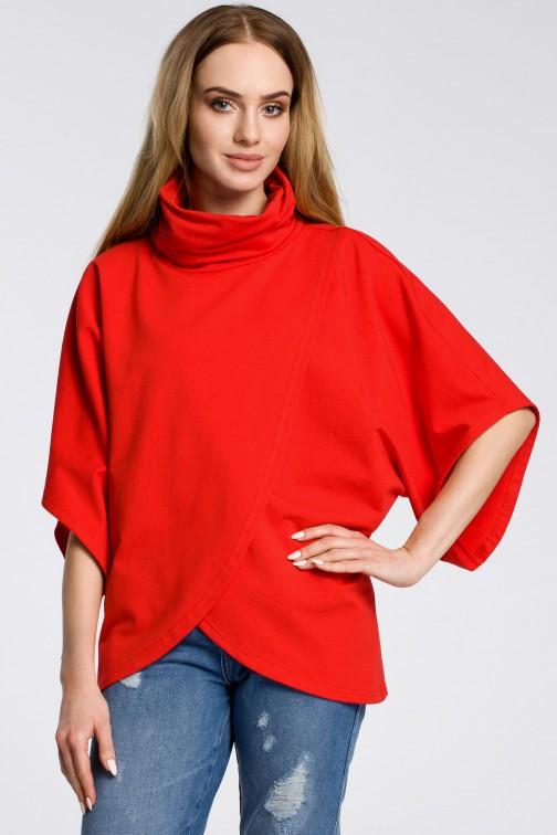 CM3600 Bluza na zakładkę z szerokimi rękawami - czerwona