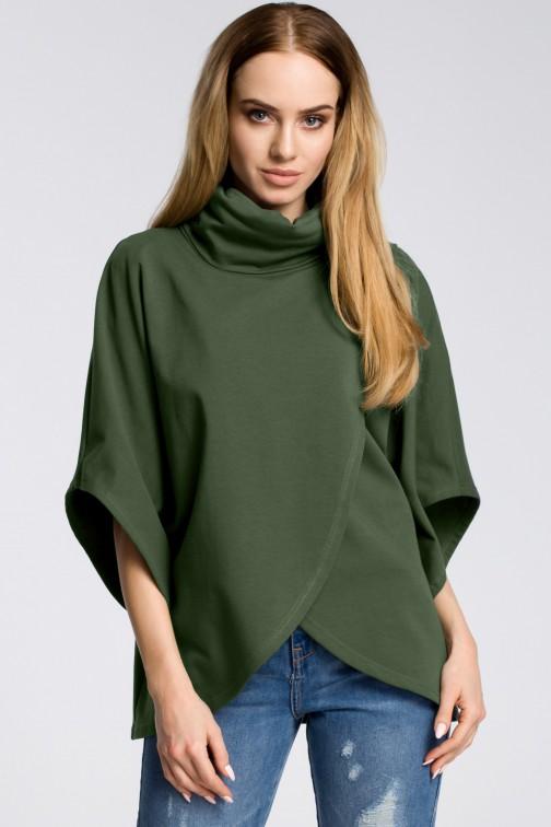 CM3600 Bluzka na zakładkę z szerokimi rękawami - militarno-zielona
