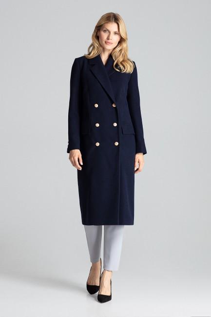 CM5027 Dwurzędowy płaszcz z...